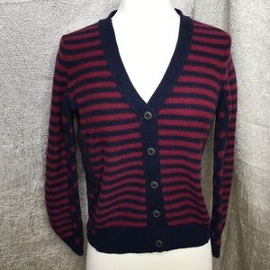 Wallace by Madewell Blue Red Stripe Dots Cardi Med